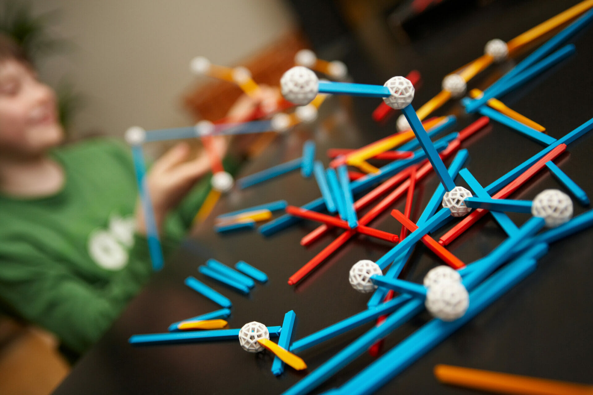 Science model of molecules connecting