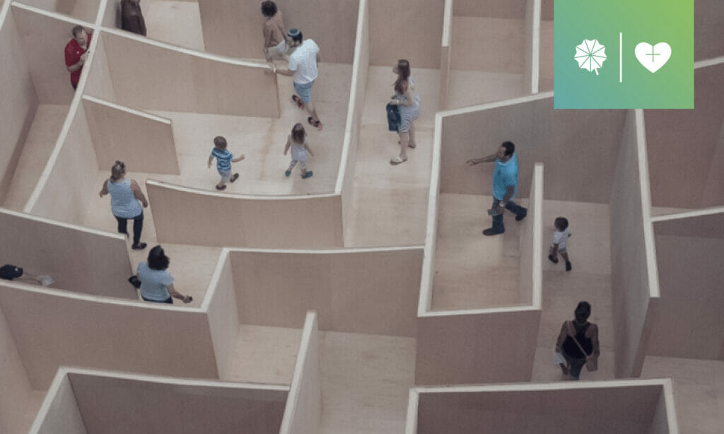 Background image of people in maze