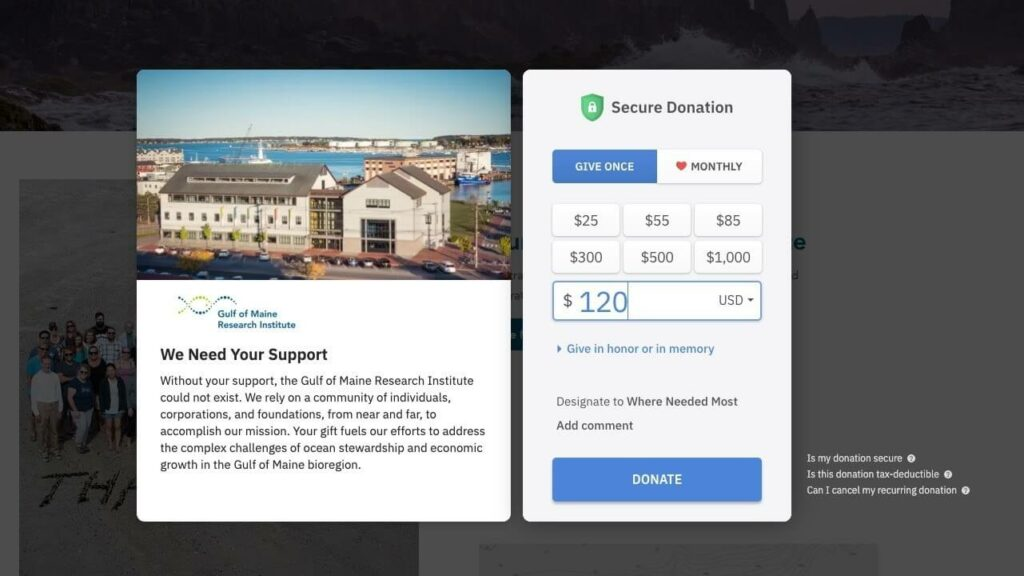 Gulf of Maine donation page