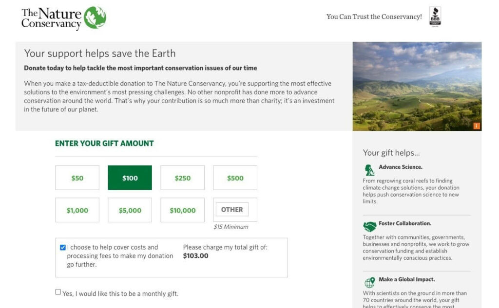 The Nature Conservancy donation page